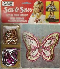 New listing Sew & Sews Vintage 1974 Sew on Sequin Butterfly Applique with Iron On Pattern