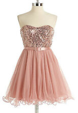 XSCAPE ~ Pink Sequins Sweetheart Strapless Belt Tulle Cocktail Dress 8 NEW $189