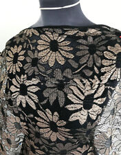 Vintage Style Shimmering Champagne Daisy Filigree Flower Lace Dressmaking Fabric
