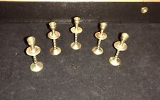 """Vintage Rare 5 Brass Individual Candle Holders Menorah 1.75"""" Tall"""