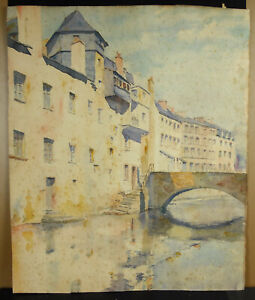 Drawing Original Watercolour Canal And Bridge IN Venice Italy c1950 56cm