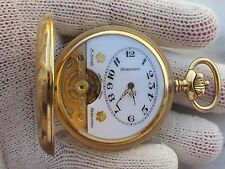 HEBDOMAS 8 JOURS(8 DAYS)POCKET WATCH S/S&GOLD PLATED SIZE 50mm