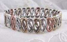 Stretch Bracelet Silver Copper Gold Abstract Cut Out Ovals Fashion Jewelry NEW