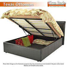 6FT (Super King) Ottoman/Storage Gas Lift Faux Leather 'Texas' Bed | Black,Brown