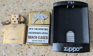 Original Zippo Brass Lighter - Customised for Jaws Movie - used