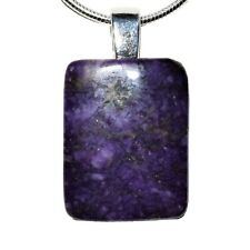 "925 Sterling Silver Natural Charoite Cushion Solitaire Pendant + 20"" 925 Chain"