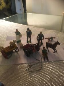 Vintage Britains Farm Lead People,and Carts For Spares Or Repairs