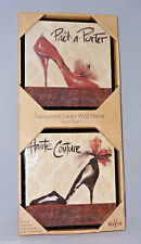 """LACQUERED HAUTE COUTURE HIGH HEELED PUMPS SHOES 6"""" X 6"""" WALL/TABLE PLAQUES SET"""