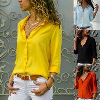 Women's Fashion Long Sleeve Office Lady Chiffon Blouse Shirt T-Shirt Ladies Tops
