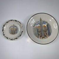 Lot Of 2 America by ENCO New York 5 inch & 3.5 Inch painted plates 24k Gold