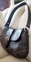 Coach Soho Shoulder Handbag Purse Small Stitched Leather Buckle Flap chocolate