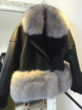 ❤️❤️BEAUTIFUL SOFT SHEARLING SHEEP LEATHER FOX FUR TRIM JACKET ALL SIZES❤️❤️