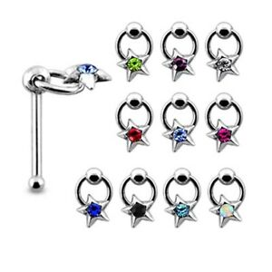 10Pcs 22G 6mm 925 Sterling Silver Dangle Ring 1.5mm Stone in Star Nose Bone Stud