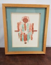 Southwestern Aztec Inspired Mixed Media Art Artwork Framed Mounted under Glass