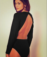 Womens Black Open Back Cut out Backless Batwing Sleeve Bodysuit Party Top 10