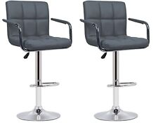 2 Grey Faux Leather Milan Bar Stools With Arms Top Quality Kitchen Breakfast Bar