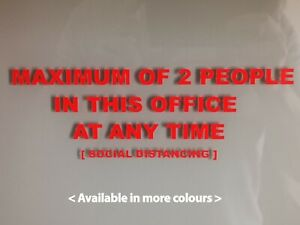2 PEOPLE MAXIMUM , SOCIAL DISTANCING, CO-VID OFFICE SIGN Vinyl Square Sticker