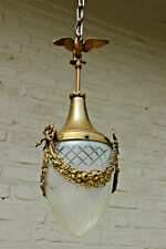 French Brass metal Eagle louis XVI Hall Lantern chandelier pendant crystal glass