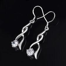 925 Sterling Silver Plated Twist Cubic Zirconia Drop/Dangle Hook Earrings Gift