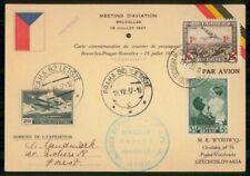 Mayfairstamps Belgium 1937 Czechoslovakia Mixed Franking Aviation Meeting Postal