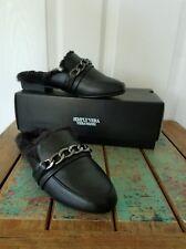 NEW VERA WANG Black Leather Platform Mules Clogs Slip-On Faux Leather Fur Genoa