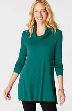 NWT - J. Jill - L /XL (16-20) - Great 100% Pima Cotton Ocean  Cowl-Neck Tunic