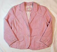 Women's American Eagle White and Dark Pink Seersucker 3/4 Sleeve Blazer Jacket-S