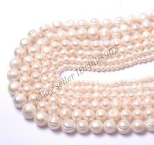 "Natural Round Freshwater White Pearl Beads 15"" 4MM 6MM 7MM 8MM 10MM 12MM 14MM"