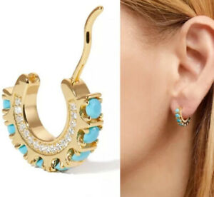 14k Gold plated over 925 sterling silver turquoise huggie hoop earrings CZ 4 Her