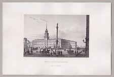 Warszawie, Warschau, Polen - Das Warschauer Königsschloss  - Stahlstich 1862