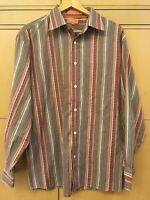 Faconnable Large Long Sleeve Button Front Shirt Striped Brown Blue