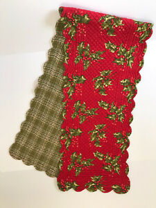 """April Cornell Quilted Christmas Holiday Holly Table Runner 68"""" X 14.5"""""""
