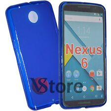 Cover Custodia Per Motorola NEXUS 6  Gel Silicone TPU Blu + Pellicola