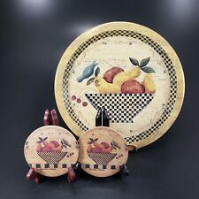 Carol Endres Checkered Folk Art Bluebird Serving Tray w Absorbent Coasters