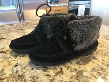Tory Burch Nathan Flat Bootie Boots Black Suede Size 10 EUC