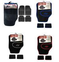4 Pcs RUBBER RED BLUE GREY Car Van Mats Black Universal Fit Heavy Duty Non Slip