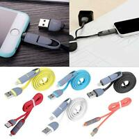 2 In 1 USB Charger Sync Data Cable Flat Cord Dual-Use For Android iPhone 5S OE