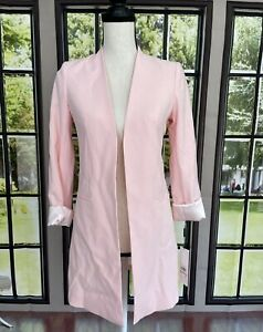 CALVIN KLEIN Women's Light Pink Open Front Topper Jacket Petite Size 2P