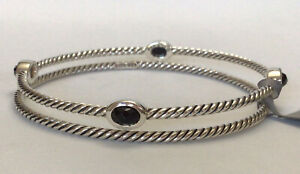 DAVID YURMAN Confetti 4 Station Onyx Bangle Bracelet 925 Silver NWT $450 Size S