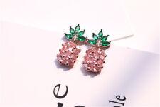 Women Cute Pineapple Earrings Shining Studs Crystal Earring Hawaii Summer HOT