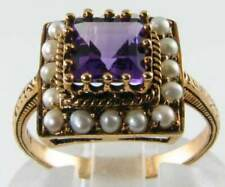 LUSH 9K 9CT YELLOW GOLD AFRICAN AMETHYST & PEARL ART DECO INS RING FREE RESIZE