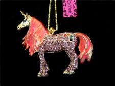 Betsey Johnson Pink Crystal Unicorn Horse Pendant Long Chain Animal Necklace