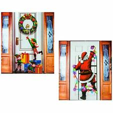 Christmas Door Cover (2 Pack) Holiday Decorations, Santa Hanging Lights and
