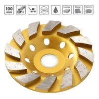 "100mm 4"" Diamond Segment Grinding Wheel Disc Grinder Cup Concrete Stone Cut NEW"
