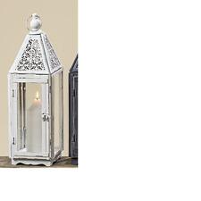 tamaño FAROLA Shabby Casa De Campo Blanco Metal candelero,Candelabro altura 55cm