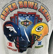 SuperBowl  XXXII Sweatshirt M Vintage NFL Football Gray Broncos Packers 1998 USA