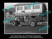 OLD HISTORIC PHOTO OF INTERNATIONAL HARVESTER D35 TRUCK St KILDA VICTORIA c1940