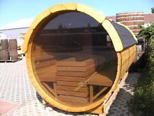 NEU: 3,5m Fasssauna mit Panoramaglas Saunafass Außensauna Gartensauna Holzsauna