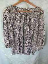 East 5th Sheer Leopard Print Top Size Small Grays & Black Elastic Waist Blouse