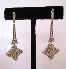 NEW Pavé Crystal Goldtone Linear Drop Dangle Earrings Retro